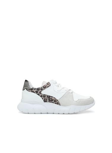 Divarese 5024454 Leopar Kadın Sneaker Beyaz